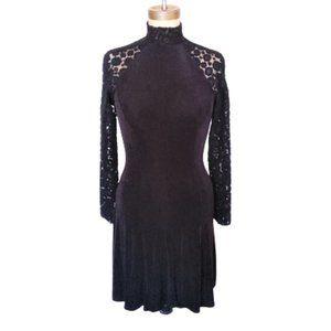 Vintage 90s lace sleeves  black skater dress